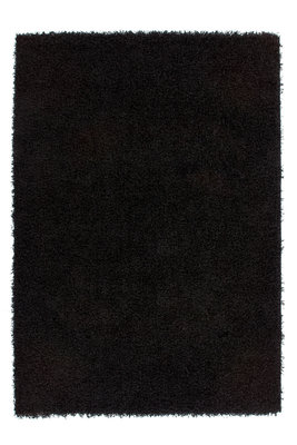 Zwart hoogpolig vloerkleed Nord