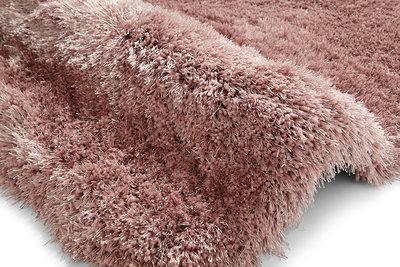 Handgemaakt effen hoogpolig vloerkleed Monza de Luxe kleur roze