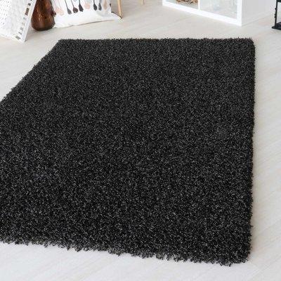 Hoogpolig vloerkleed Angy zwart 160